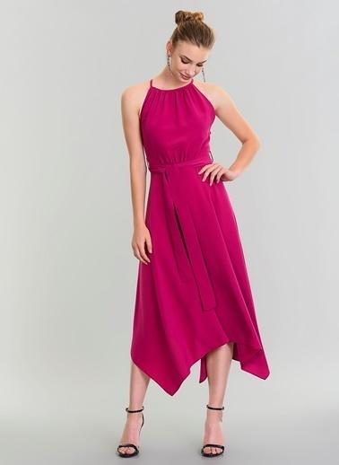 People By Fabrika Sırtı Şerit Detaylı Elbise Mor